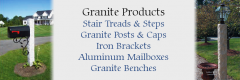 Pelham NH Granite Stair Treads, Granite Posts, Mailbox Brackets, Mailboxes, Granite Mailbox Posts, Granite Lamp Posts, Granite Benches